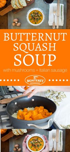 This quick and easy butternut squash soup is a delicious fall and winter seasonal recipe. In addition to the sweet butternut squash flavor, you'll also get a punch of umami from sauteed mushrooms, plus some richness from italian sausage. Best Mushroom Soup, Mushroom Side Dishes, Best Mushroom Recipe, Mushroom Soup Recipes, Healthy Soup Recipes, Pork Recipes, Fall Recipes, Appetizer Recipes, Mushroom Appetizers