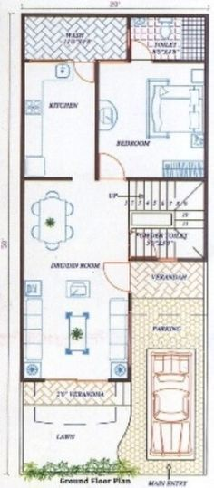 A Duplex house plan is for a single-family home that is built in two floors having one kitchen and dining. The duplex house plan gives a villa look and feel in small area. Duplex Floor Plans, Small Floor Plans, Bungalow House Plans, Dream House Plans, Small House Plans, House Floor Plans, The Plan, How To Plan, House Layout Plans