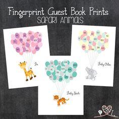 Fingerprint Guest Book Prints Safari Animals; Jungle Animals; Baby Shower; Birthday Party; Giraffe; Zebra; Lion; Monkey; Elephant