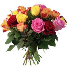 Bouquet de fleurs en promotion 20 roses multicolores