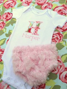 Personalized Embroidered Initial Onesie and Diaper Cover Set- Baby girl onesie set-Amy Butler Tumble Rose Pink- Any Fabric. $30.00, via Etsy.
