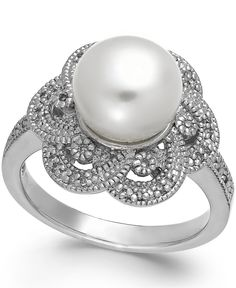Cultured Freshwater Pearl (9mm) and Diamond (1/10 ct. t.w.) Flower Ring in Sterling Silver - Original price was $340.00. Now $279.00 + Additional 15% Off with code: SHINE