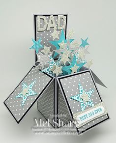 Today I am sharing the card in a box I made for Father's Day for the most amazing man I know. He's pretty special, and needed a pretty special card. Masculine Birthday Cards, Masculine Cards, Exploding Box Card, Pop Up Box Cards, Interactive Cards, Fathers Day Crafts, Paper Decorations, Flower Cards, Diy Cards