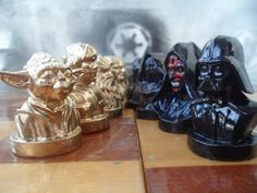 Gold/Black Chess set Star Wars, Metal, Husband gift, mens gift, father, boyfriend gift, brother gift, toys by MikeMetalMiniatures on Etsy