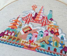 Pretty Little San Francisco - printed version - Satsuma Street Modern Cross stitch pattern Painted Ladies, Modern Cross Stitch Patterns, Cross Stitch Charts, Modern Embroidery, Embroidery Patterns, Needlepoint Patterns, Cross Stitching, Cross Stitch Embroidery, Needlework Shops