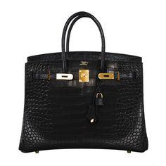 Hermes Birkin Bag 35cm Black Matte Alligator Gold Hardware