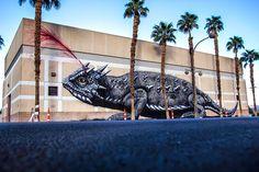 ROA Mural of Giant Horned Lizard in Las Vegas for Life is Beautiful