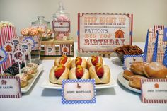 Assorted food and lolly buffet ideas using the Vintage Circus printables from Sassaby