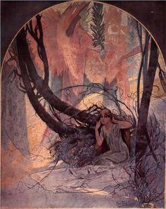 Easter Chimes Awaken Nature - Alphonse Mucha,1896,Symbolism,