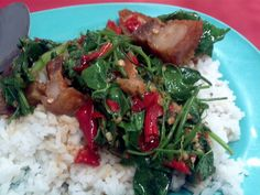 Pad Pak Tamlueng Moo Krop...Stir-Fried Ivy Gourd with Crispy Pork