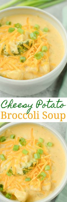 Slow Cooker Cheesy Potato Broccoli Soup – easy vegetarian soup cooked in the crockpot. It starts with frozen hash browns and frozen broccoli so there's almost no prep involved! A kid favorite during fall and winter! Healthy Crockpot Recipes, Slow Cooker Recipes, Best Soup Recipes, Amazing Recipes, Easy Dinner Recipes, Yummy Recipes, Yummy Food, Broccoli Soup, Frozen Broccoli