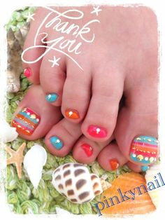 Another bright and funky beach wedding pedicure
