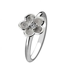 Sterling Silver jewellery, Sterling Silver Stacking Ring With Crystal Detail Flower