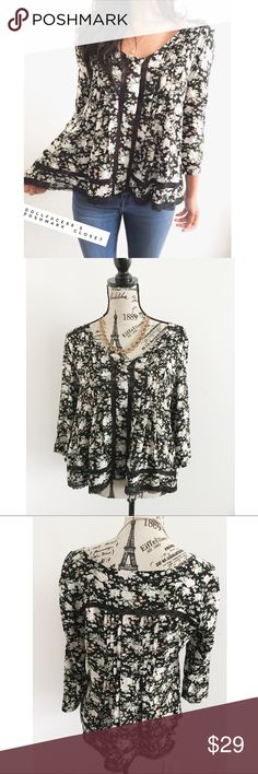 """Anthro Maeve Dark Floral Lace Inset Blouse ✦   ✦{I am not a professional photographer, actual color of item may vary ➾slightly from pics}  ❥chest:20"""" ❥waist:20.5"""" ❥length:24"""" ❥sleeves:17.5"""" ➳material/care:polyester/machine wash  ➳fit:like a medium/lrg  ➳condition:gently used  ✦20% off bundles of 3/more items ✦No Trades  ✦NO HOLDS ✦No transactions outside Poshmark  ✦No lowball offers/sales are final Anthropologie Tops Blouses"""