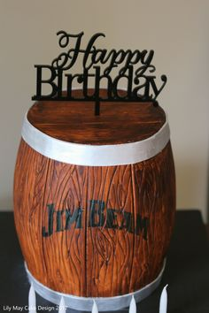 Our take on a Jim Beam barrel cake with hand painted Jim Beam logo. Would make a great Grooms cake! Birthday Cake For Him, Birthday Cakes For Men, Cakes For Boys, 50th Birthday, Cake Design For Men, Barrel Cake, Cake Structure, 40th Cake, Sculpted Cakes