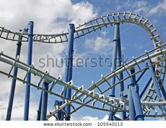 stock photo : steep path to binaries in a suggestive of a roller coaster track
