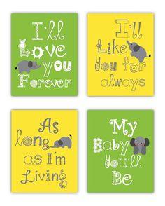 Elephant Art for Kids Nursery Art Prints I'll Love You Forever by Little Pergola, $55.00
