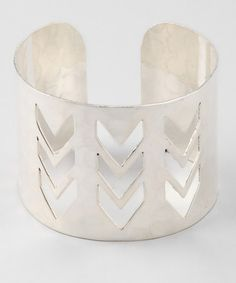 Take a look at this Silver Cutout Chevron Cuff by ZAD on #zulily today! $9.99