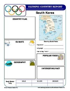 Winter Olympics Country Report Set - connect geography, social studies, common core research, and the winter Olympics.  Includes 25 report templates for different countries.