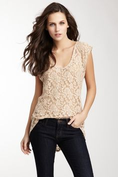 Lace Hi-Lo Top -- would like in a different color + less low-cut
