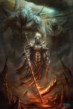 This is just toooooo good. if I could draw this well, I would probably quit my job -Z Las puertas del infierno by ~Dibujante-nocturno on deviantART Dark Fantasy Art, Fantasy Artwork, Fantasy World, Dark Art, Angels And Demons, Evil Demons, Inner Demons, Monster Art, Fantasy Warrior