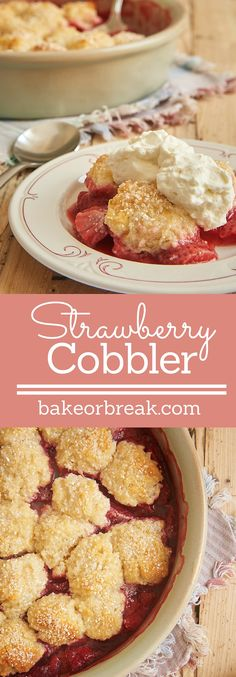 This Strawberry Cobbler is full of sweet berries along with a good dose of lemon. And all topped with sweet cream cheese biscuits! - Bake or Break ~ http://www.bakeorbreak.com