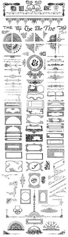 This lovely collection features 120 vintage typographic ornaments including frames, borders, dividers, corners, and the occasional catchword and ampersand. These design elements were carefully curated