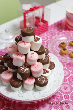 Chocolate dipped marshmallows. Like the mix of pink and brown.
