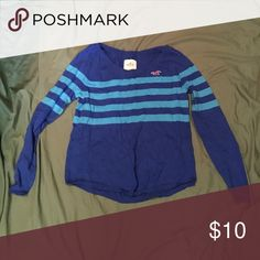 Royal blue Hollister sweater Never been worn - royal blue Hollister sweater with turquoise stripes! Very soft material. Hollister Sweaters Crew & Scoop Necks