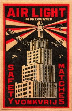 vintage matchbox label: Dutch matchbox label, circa 1935