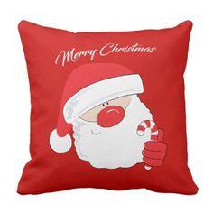 Santa Face - white text. Throw Pillow - Xmas ChristmasEve Christmas Eve Christmas merry xmas family kids gifts holidays Santa