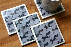 Tile Coasters - Ceramic Coasters - Ceramic Tile Coasters - Coaster Set - Table Coasters - Gray Coasters - Coaster - Tile Coaster