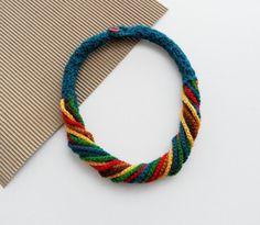 Häkeln Sie Halskette bunte Halskette klobige von CraftsbySigita