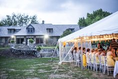Tented reception on lower lawn of the Estate House at Laumeier Sculpture Park