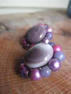 Vintage 1950s Purple Bead Cluster Button Clip by GrayGatorVintage, $12.00