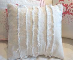 White Frayed Denim Pillow
