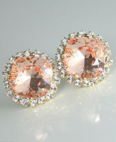 Peach earrings Peach crystal earrings Peach
