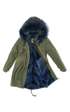 Slim Fit Long Army Green Parka Lined In Blue Coyote & Murmasky by MR & MRS ITALY for Preorder on Moda Operandi