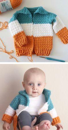 22 ideas for knitting patterns free sweater kids boys crochet baby cardigan Crochet Baby Sweaters, Crochet Cardigan Pattern, Crochet Clothes, Baby Knitting, Crochet Baby Beanie, Pattern Skirt, Knitting Sweaters, Knitted Baby, Crochet Bebe