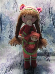 https://flic.kr/p/C4D13i | Adelaide31 | Adelaide and Alice, from the Lalylala pattern Kira. Crocheted with Knit Picks Palette and a size 1 steel crochet hook, she is 10 inches tall. Delightful, charming, and so easy to love! Really, she is just too cute!