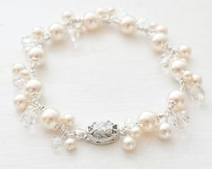 Pearl Cluster Wedding Bracelet Sterling Silver Pearl