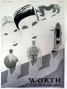 Perfume WORTH poster, French cologne vintage advertising, 1930 magazine advertisement, original art deco ad, illustration print for framing