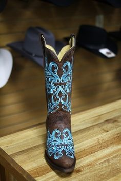 Corral Dahli Teal Embroidery Cowboy Boots how many outfits would match this? a million!