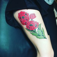 Red poppies tattoo, traditional. Red poppies have symbolized eternal sleep, peace, and death throughout history.