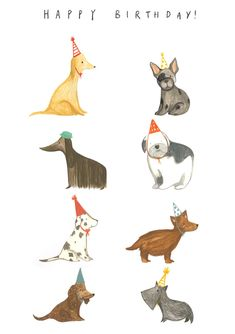 Another card along the birthday theme, dogs in hats! Art And Illustration, Watercolor Illustration, Happy Birthday Dog, Baby Animals, Cute Animals, Stuffed Animal Patterns, Puppy Party, Dog Art, Cute Drawings