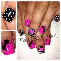 Pink and black nail art. Check out Pinked Out Salon on FB!