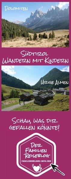 Dolomiten - Brixen - Bozen - Meran - Wir waren schon oft in Südtirol wandern mit Kindern. In den Dolomiten bei Brixen, rund um Bozen beim Montiggler See, dem Kalterer See und natürlich auch in Meran. Wir haben schöne Klammen in Südtirol besucht und nicht zu vergessen die wunderbaren Almen und Hütten, die auf den Wanderwegen liegen. Aber schau einfach selbst, was dir gefällt... Trekking, Travel Inspiration, Around The Worlds, Hiking, Movie Posters, Outdoor, Travelling, Trends, Nature