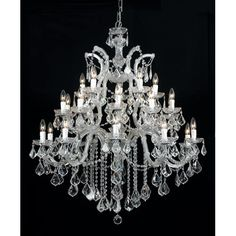 Maria Theresa Polished Chrome Ten-Light Chandelier with Swarovski Strass Crystal