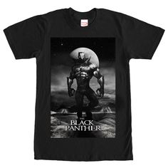 Black Panther Cliffside - With the knowledge, strength and memories of all the Black Panthers that came before him, TChalla is an unstoppable power on the Marvel Black Panther Lightning Black T-Shirt! The Wakandan King is portrayed emerging from the shadows with a glowing moo