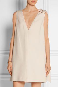 Valentino|Mini-robe en crêpe de laine et soie mélangées ornée d'un nœud|NET-A-PORTER.COM
